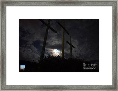 Blue Moon Behind Crosses Of Mercy Framed Print by Timbo Connard