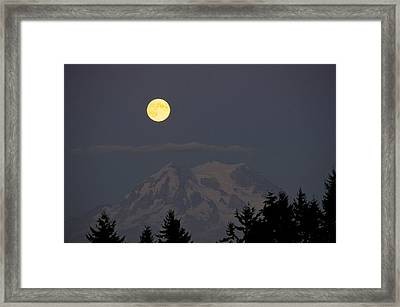 Blue Moon - Mount Rainier Framed Print