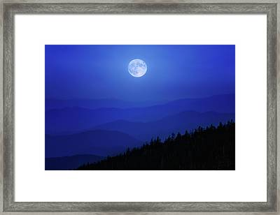 Blue Moon Over Smoky Mountains Framed Print
