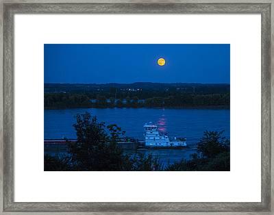 Blue Moon Over The Mississippi River Framed Print
