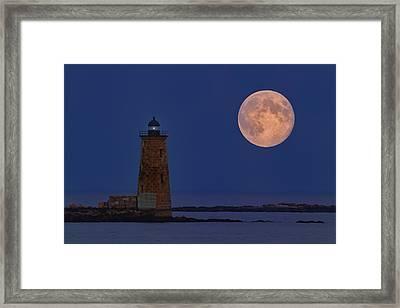 Blue Moon Over Whaleback Lighthouse Framed Print by Dale J Martin