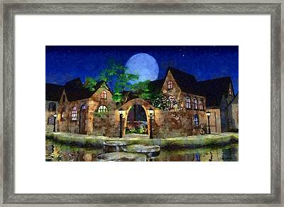 Blue Moon Painted Framed Print by Cynthia Decker
