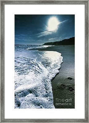 Framed Print featuring the photograph Blue Moonlight Beach Landscape by Jorgo Photography - Wall Art Gallery