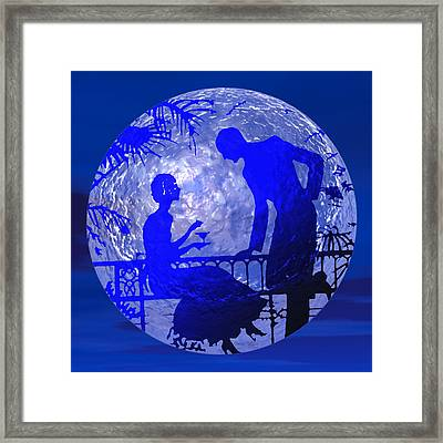 Blue Moonlight Lovers Framed Print