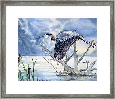 Blue Morning Flight Framed Print