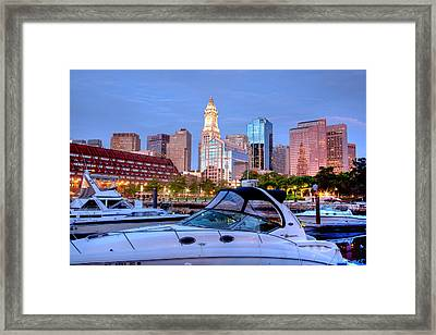 Blue Morning On Boston Harbor Framed Print by Susan Cole Kelly