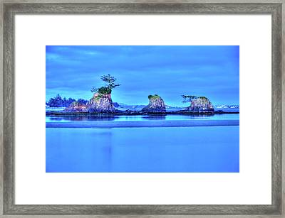 Blue Morning Siletz Bay Oregon Framed Print