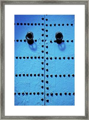 Blue Moroccan Door Framed Print by Kelly Cheng Travel Photography