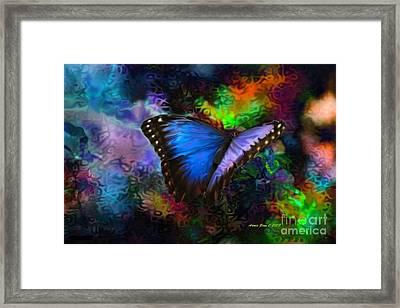 Blue Morpho Butterfly Framed Print by Annie Zeno