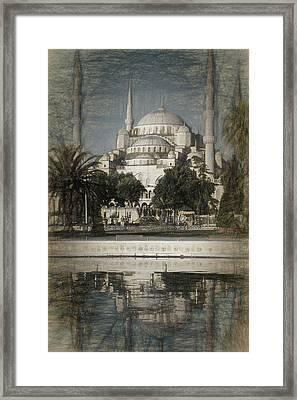 Blue Mosque - Vintage Blue Sketch Framed Print