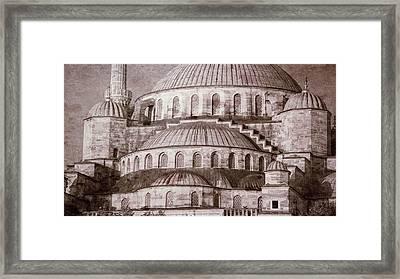 Blue Mosque - Vintage Print Framed Print by Stephen Stookey