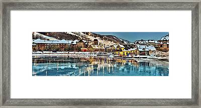 Blue Mountain Ice Reflection Framed Print