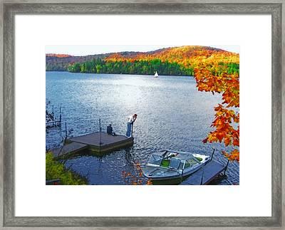Blue Mountain Lake 12 - Tourists On Dock Framed Print by Steve Ohlsen