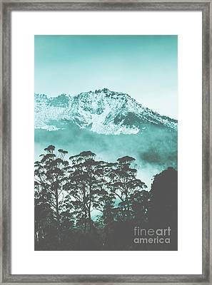 Blue Mountain Winter Landscape Framed Print