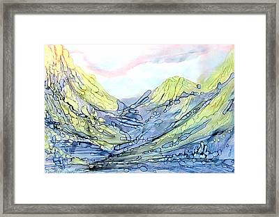 Blue Mountains Alcohol Inks  Framed Print by Danielle  Parent