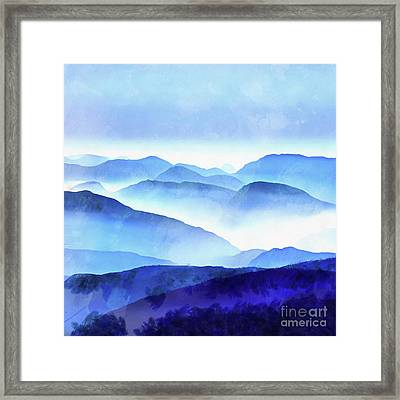 Blue Mountains Square Framed Print by Edward Fielding