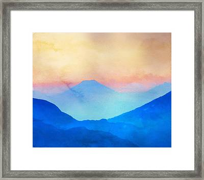 Blue Mountains Watercolour Framed Print