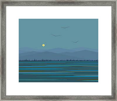 Blue Mountains - With Birds Framed Print by Val Arie