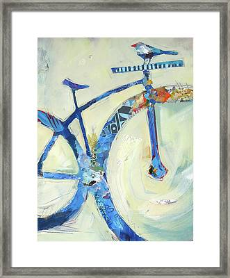 Blue Mt Bike And Bird Framed Print by Shelli Walters