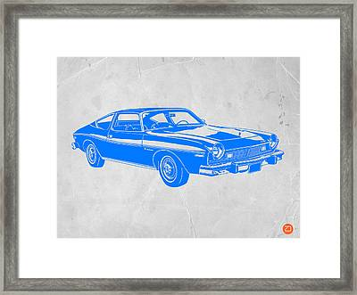 Blue Muscle Car Framed Print by Naxart Studio