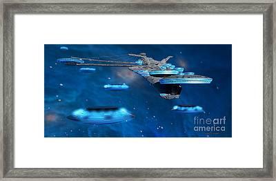 Blue Nebula Expanse Framed Print by Corey Ford