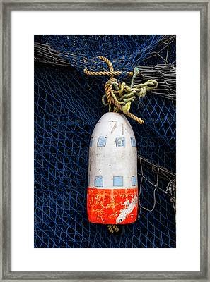 Blue Net And Orange And White Buoy Framed Print by Carol Leigh