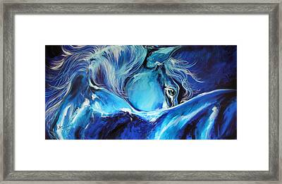 Blue Night Abstract Equine Framed Print