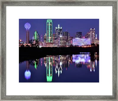 Framed Print featuring the photograph Blue Night And Reflections In Dallas by Frozen in Time Fine Art Photography