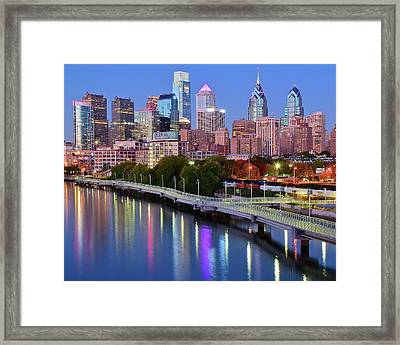 Blue Night Lights In Philly Framed Print by Frozen in Time Fine Art Photography