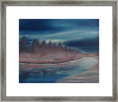Framed Print featuring the painting Blue Nightfall Evening by Rod Jellison