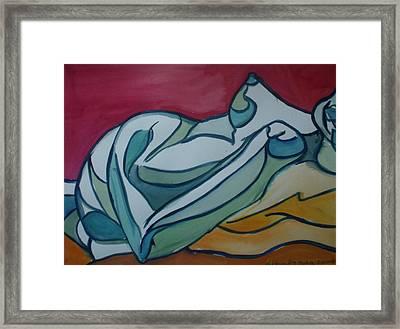Blue Nude Framed Print by Aleksandra Buha