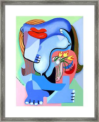 Blue Nude With Tulips Framed Print