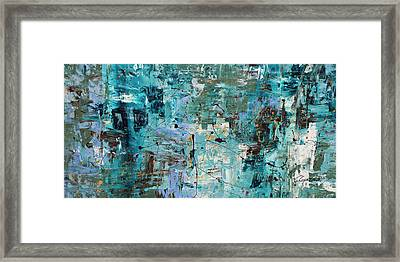Framed Print featuring the painting Blue Ocean - Abstract Art by Carmen Guedez