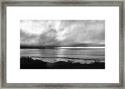 Blue Ocean Black And White Framed Print