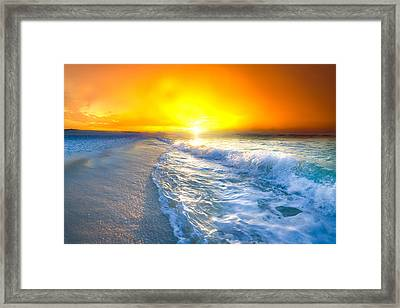 Blue Ocean Landscape Wave Photography Red Surise Framed Print