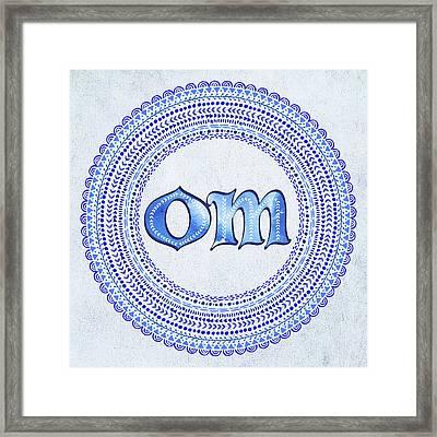 Blue Om Mandala Framed Print by Tammy Wetzel