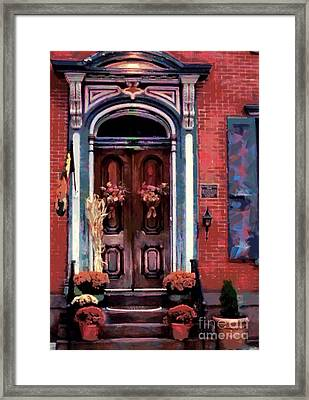 Blue On Brick - Jim Thorpe Autumn Door Framed Print