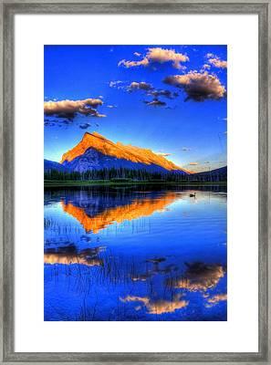 Blue Orange Mountain Framed Print