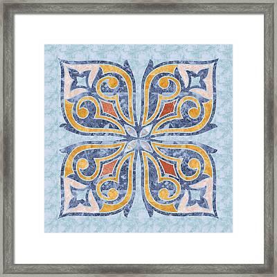 Blue Oriental Tile 04 Framed Print