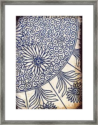 Blue Oriental Vintage Tile 01 Framed Print