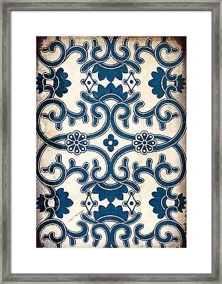 Blue Oriental Vintage Tile 02 Framed Print