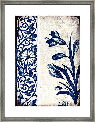 Blue Oriental Vintage Tile 03 Framed Print
