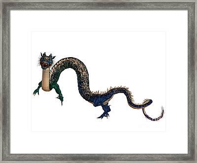 Blue Ornamental Dragon Framed Print by Corey Ford
