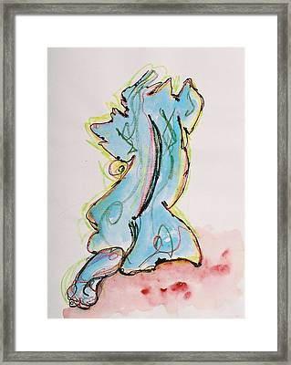 Blue Framed Print by Oudi Arroni