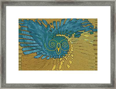 Framed Print featuring the digital art Abstract Blue Owl by Ben and Raisa Gertsberg