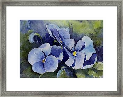 Blue Pansies Framed Print by Kathy Nesseth