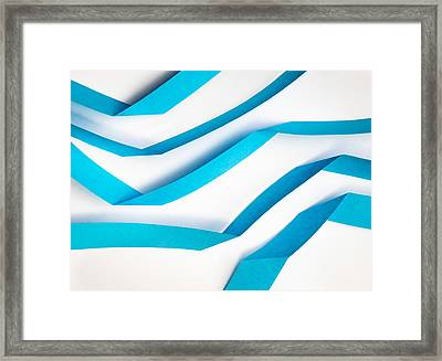 Blue Paper Strips Framed Print