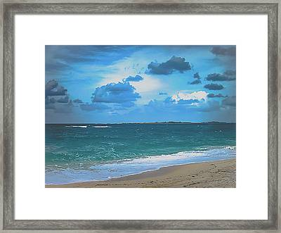 Blue Paradise, Scenic Ocean View From The Bahamas Framed Print