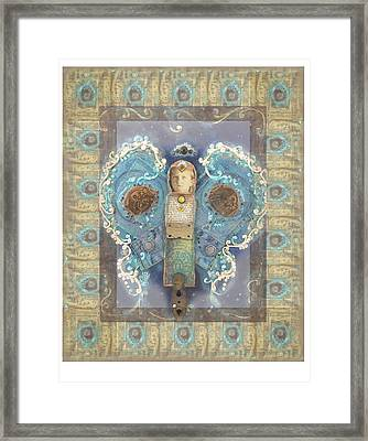 Blue Patchwork Angel Framed Print