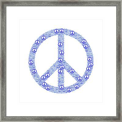 Blue Peace Sign Framed Print by Peter Hermes Furian